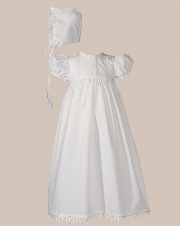 """Girls 24"""" Poly Cotton Teardrop Lace Christening Baptism Gown with Bonnet - One Small Child"""