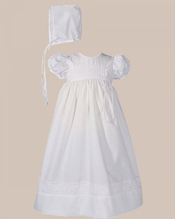 "Girls 24"" Poly Cotton Christening Baptism Gown with Rose Lace and Bonnet"