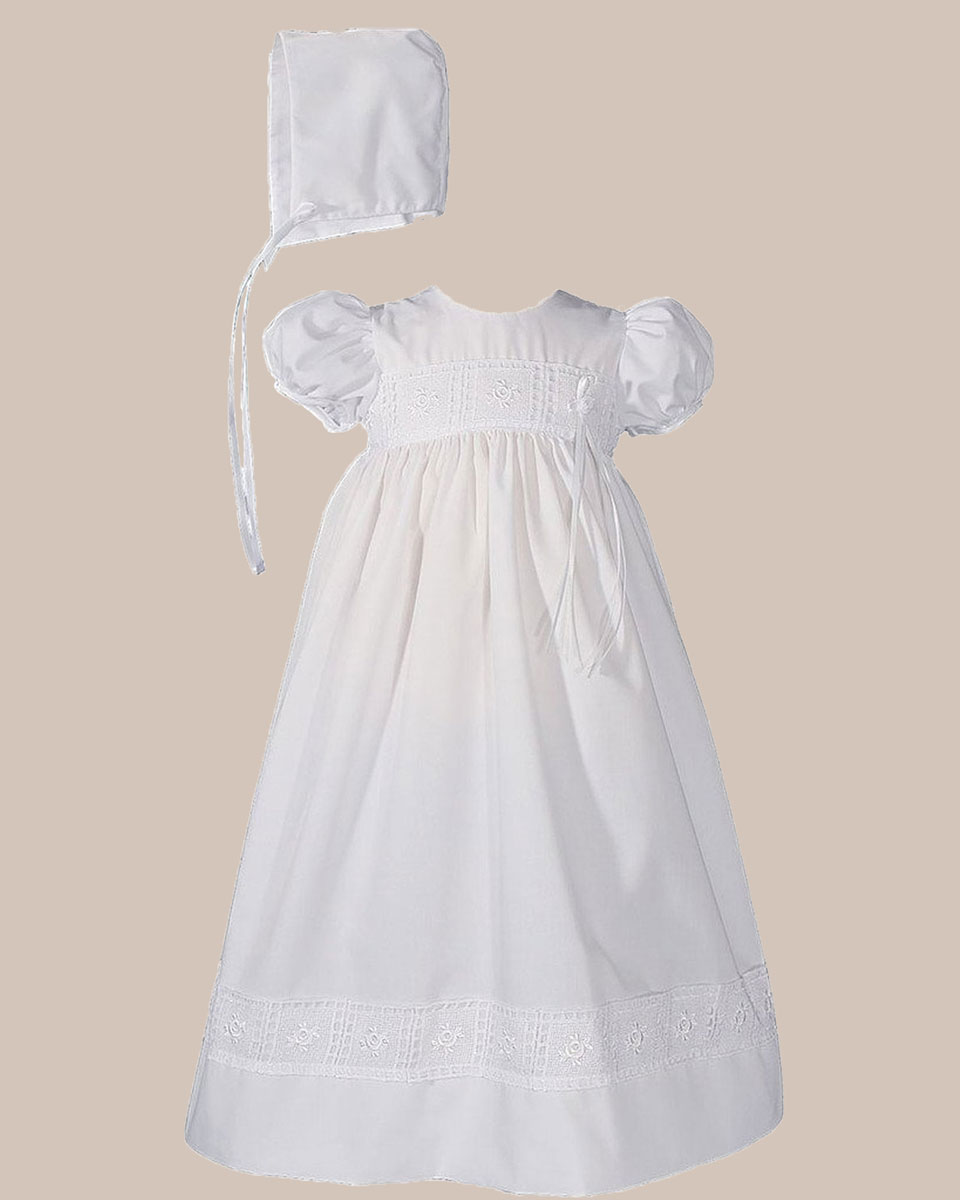 "Baptismal Gown Preservation: Girls 24"" Poly Cotton Christening Baptism Gown With Rose"