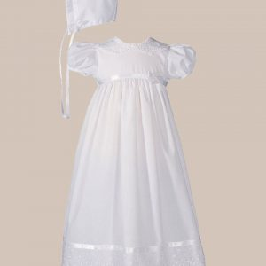 """Girls 24"""" Poly Cotton Christening Baptism Gown with Lace Collar and Hem - One Small Child"""