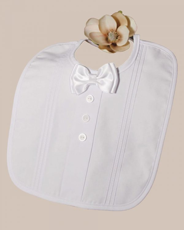 Christening Bib with Bow Tie and Pintucking - One Small Child