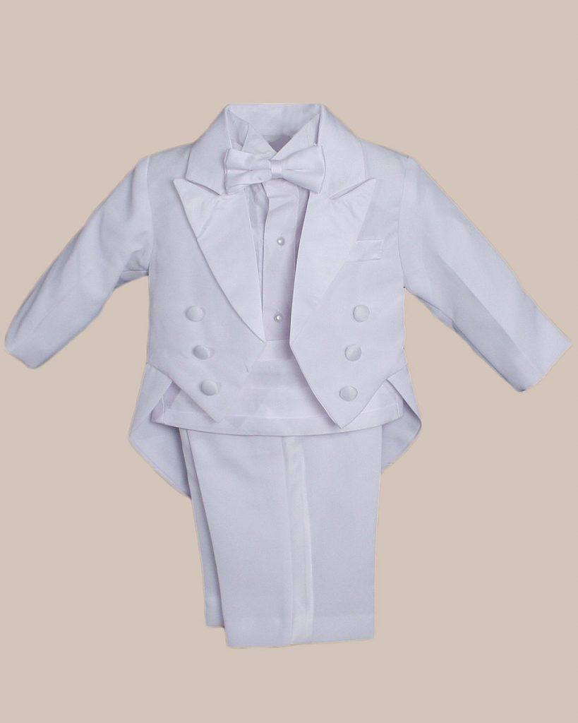Baby Boys Formal White Poly Cotton 5 Piece Classic Tux Set with Tail