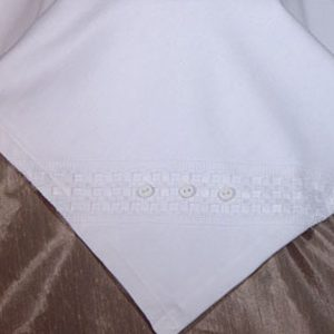 Elegant White Christening Receiver Blanket with Windowpane Trim and Buttons - One Small Child