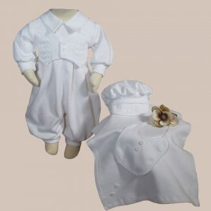 Boys White Long Sleeve Cotton Interlock Preemie Christening or Burial 4 Piece Set