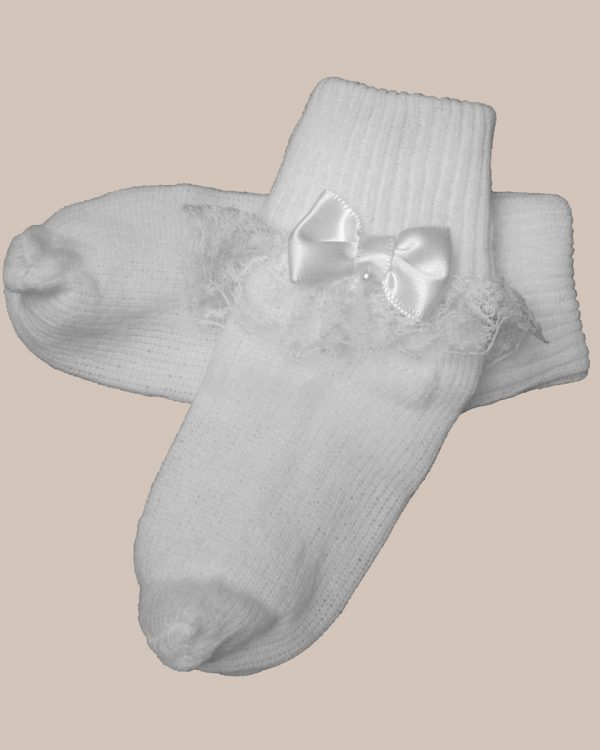 Girls Cotton Special Occasion Anklet Socks with Lace and Pearl Bow
