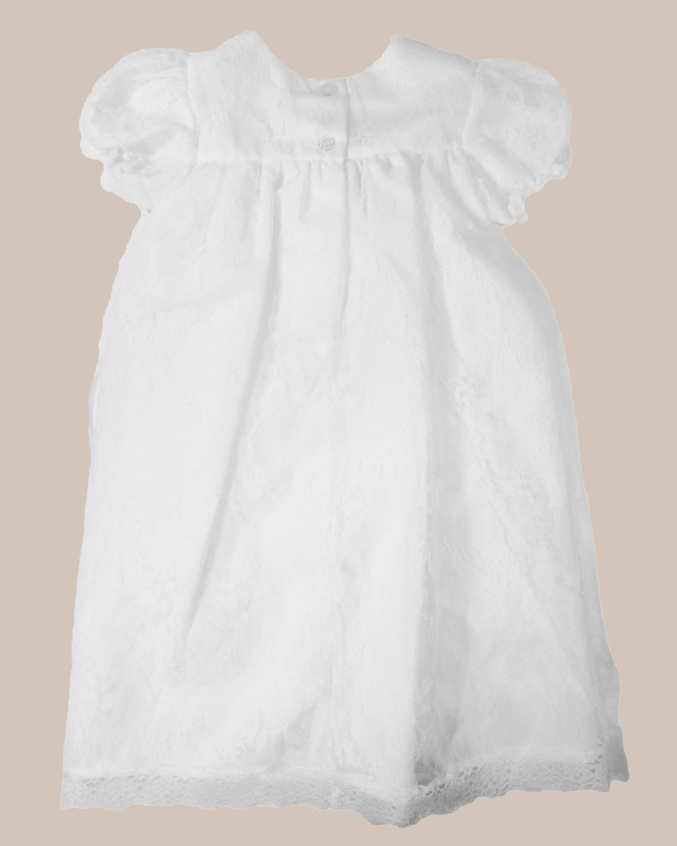 Baptismal Gown Preservation: Girls' White All-Over Lace Christening Gown With Bonnet