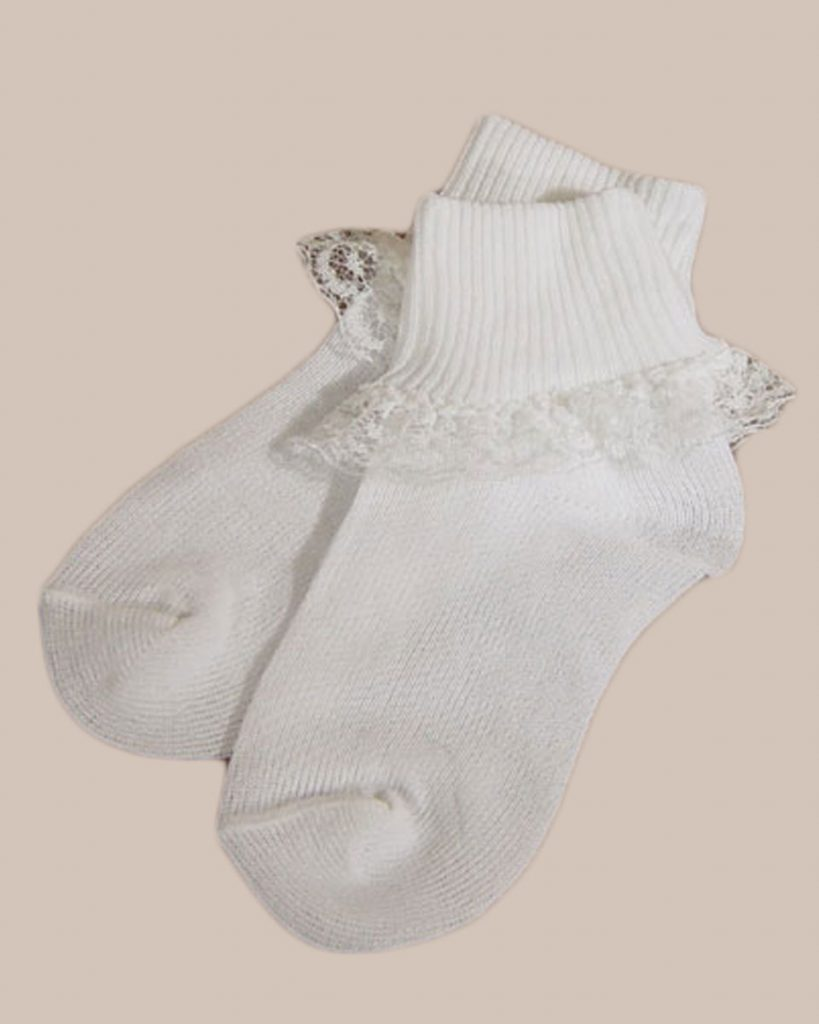 Girls White Anklet Sock with Lace