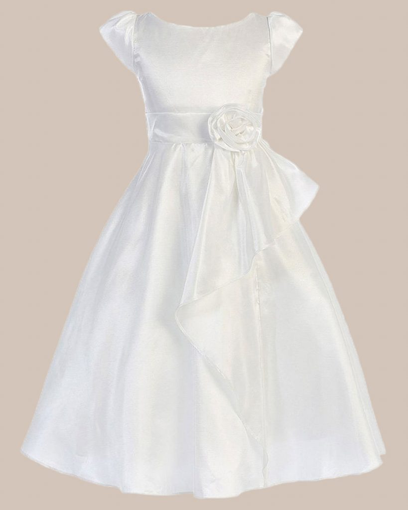 Cascading Taffeta Flower Girl Communion Dress with Taffeta Flower Waist Accent