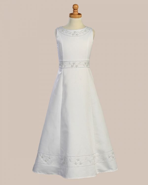 White Sleeveless Communion Baptism Dress with Shawl