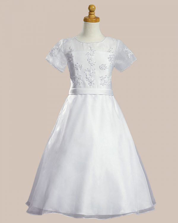 White Communion Baptism Dress with Sheer Neckline and Organza Skirt - One Small Child