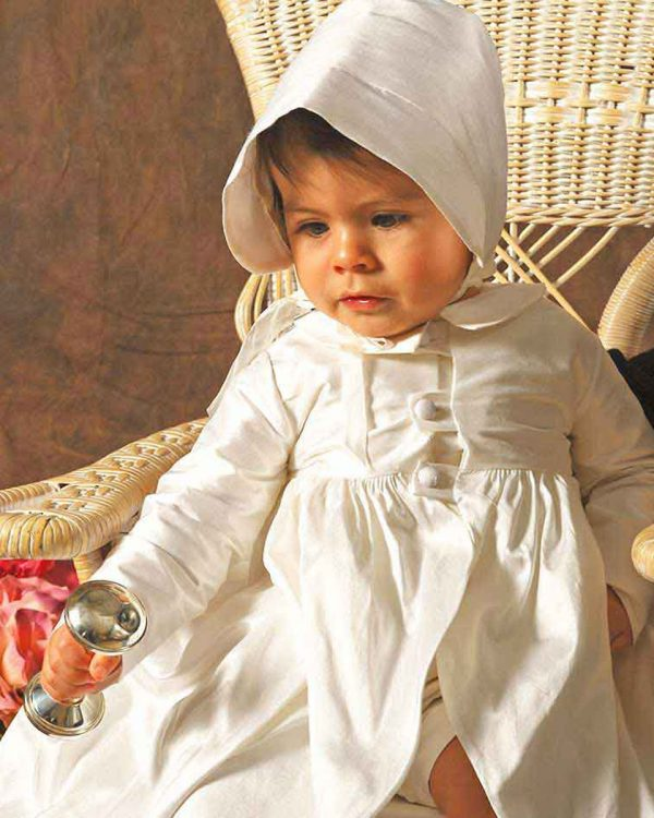 Clancey Boys Silk Special Occasion Christening Long Coat - One Small Child