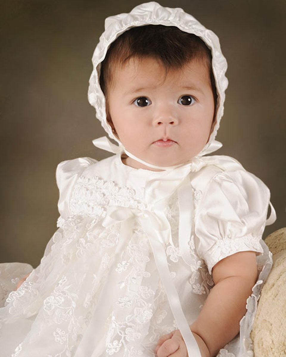 includes bonnet baptism blessing Kennedy Dress for baby christening