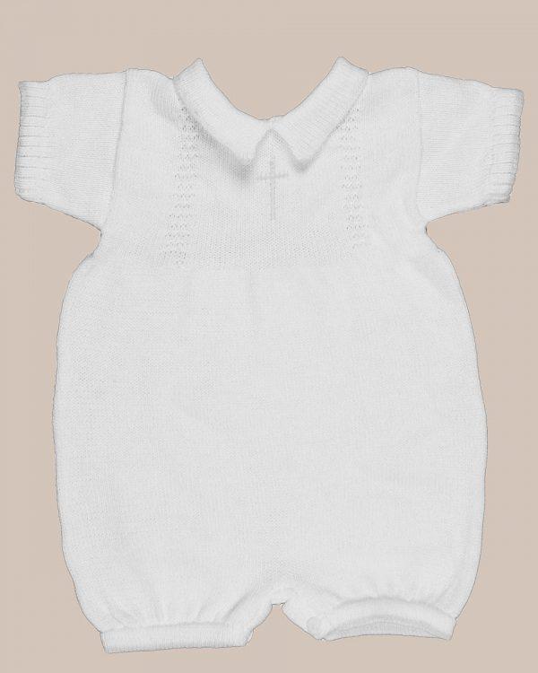 White or Blue 100% Cotton Baby Boy's Infant Christening Baptism Romper w/Cross