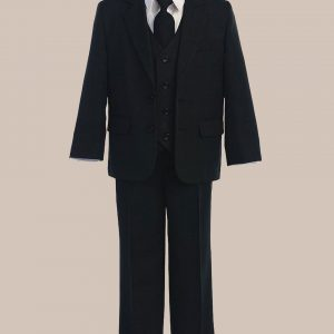 5-Piece Boy's 2-Button Jacket 4-Button Vest Husky Dress Suit - Black
