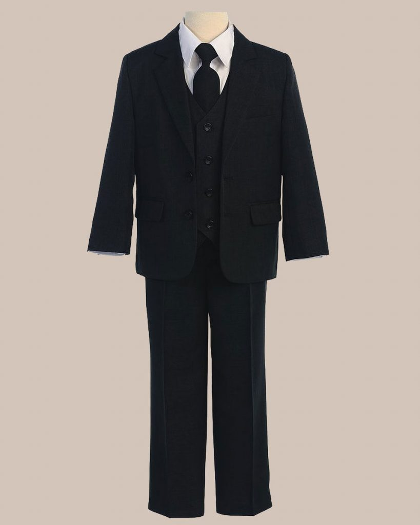 5 Piece Boy's 2 Button Jacket 4 Button Vest Husky Dress Suit   Black - One Small Child