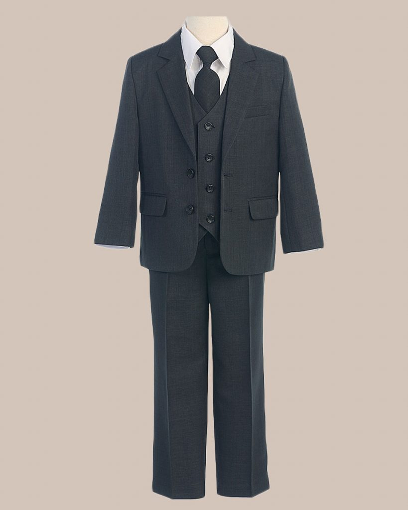 5-Piece Boy's 2-Button Jacket 4-Button Vest Husky Dress Suit - Charcoal
