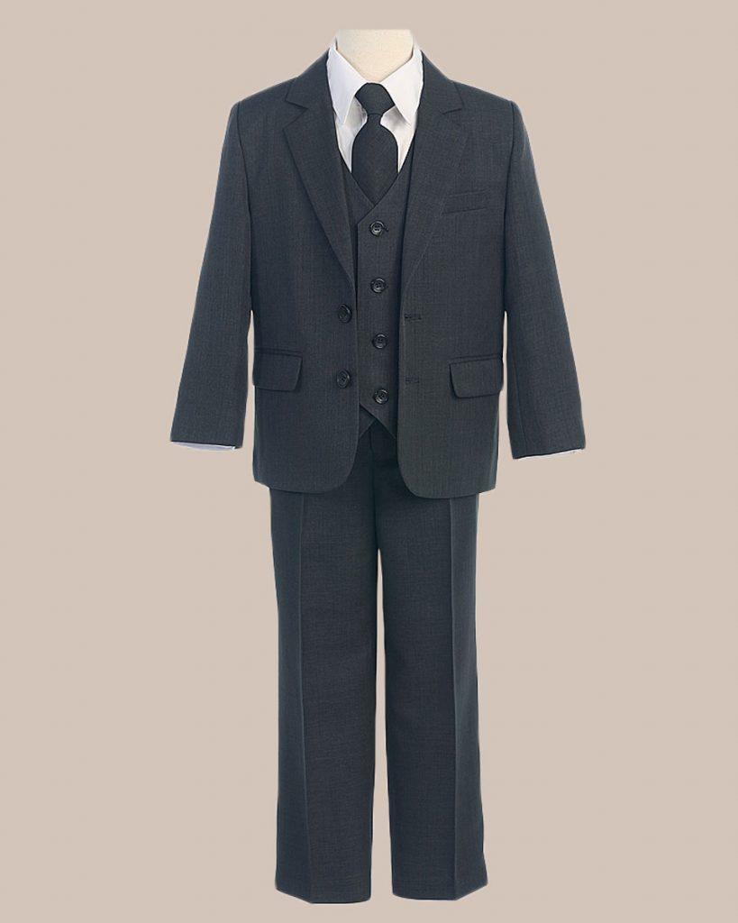 5 Piece Boy's 2 Button Jacket 4 Button Vest Husky Dress Suit   Charcoal - One Small Child