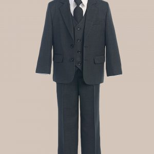 5-Piece Boy's 2-Button Jacket 4-Button Vest Dress Suit - Charcoal