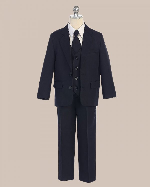 5-Piece Boy's 2-Button Jacket 4-Button Vest Husky Dress Suit - Navy Blue