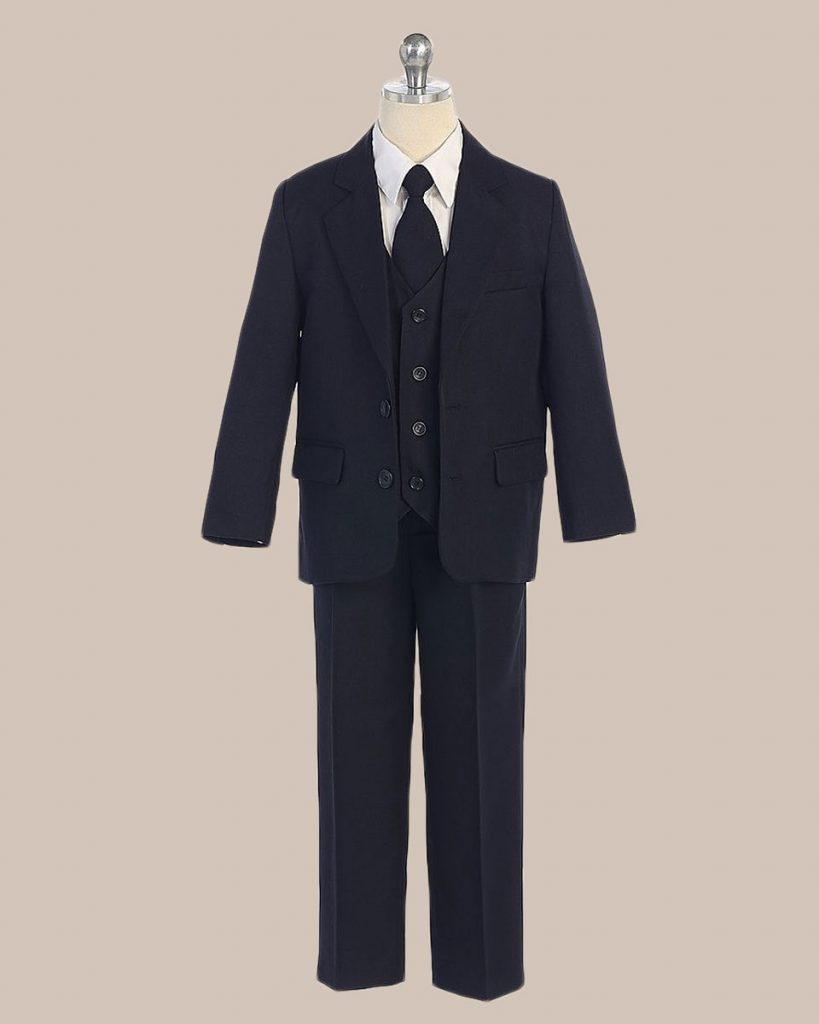 5-Piece Boy's 2-Button Jacket 4-Button Vest Dress Suit - Navy Blue