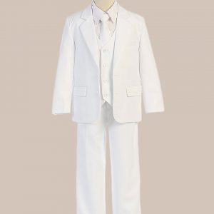 5-Piece Boy's 2-Button Jacket 4-Button Vest Husky Dress Suit - White