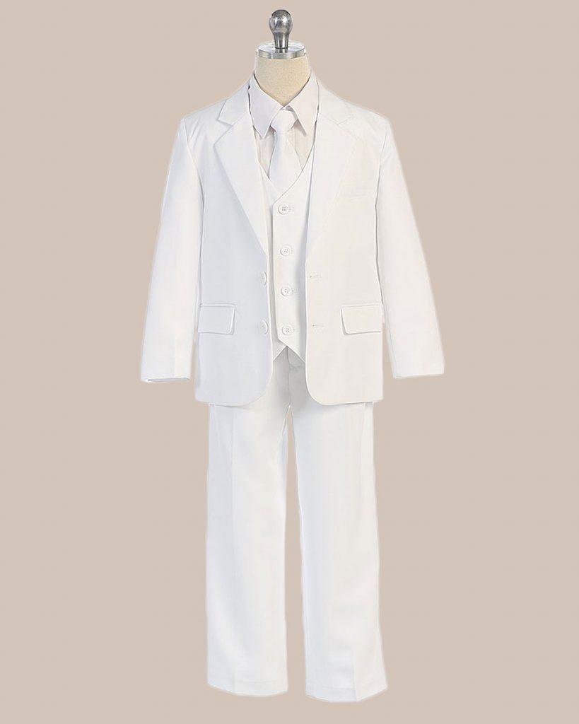 5 Piece Boy's 2 Button Jacket 4 Button Vest Dress Suit   White - One Small Child