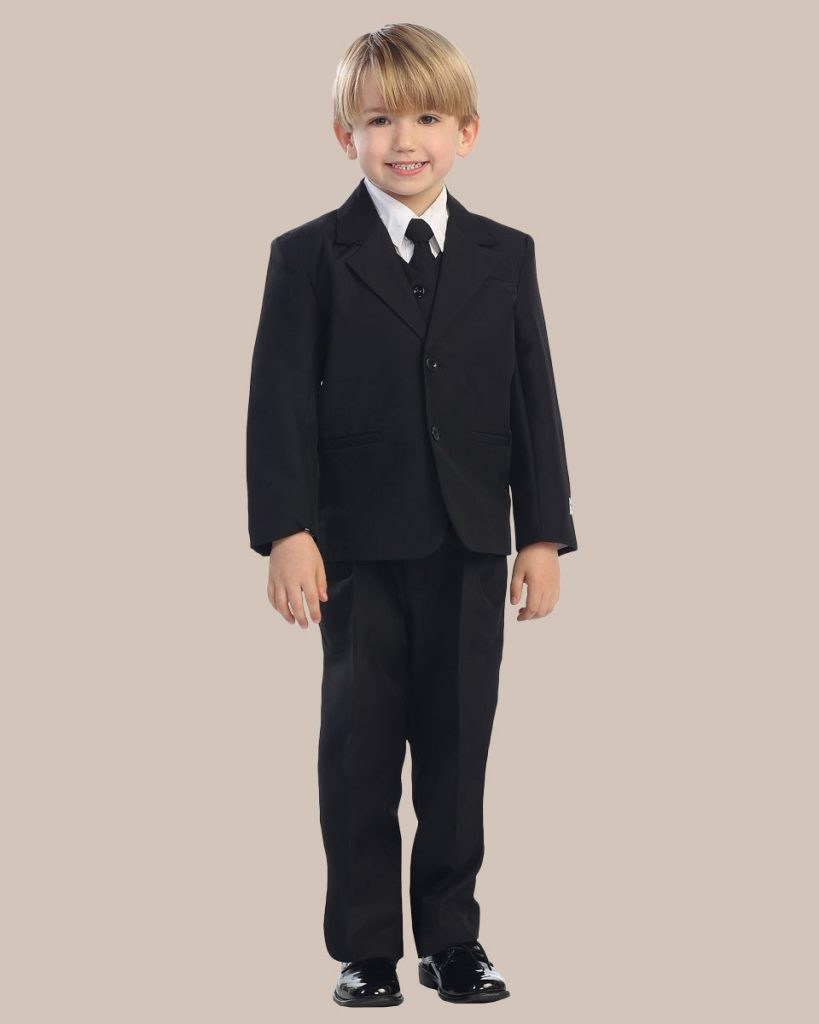 5-Piece Boy's 2-Button Dress Suit - Black