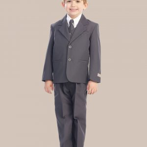 5-Piece Boy's 2-Button Dress Suit - Charcoal Gray
