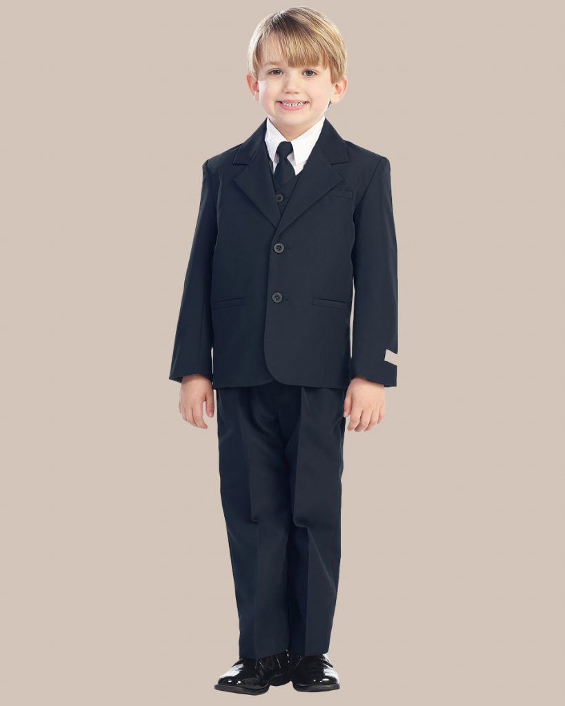 5-Piece Boy's 2-Button Dress Suit - Navy Blue
