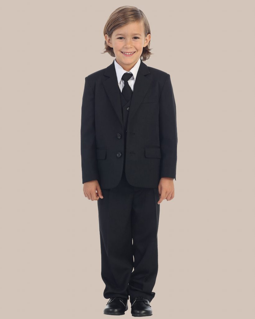 5-Piece Boy's 2-Button Dress Suit Tuxedo - Black