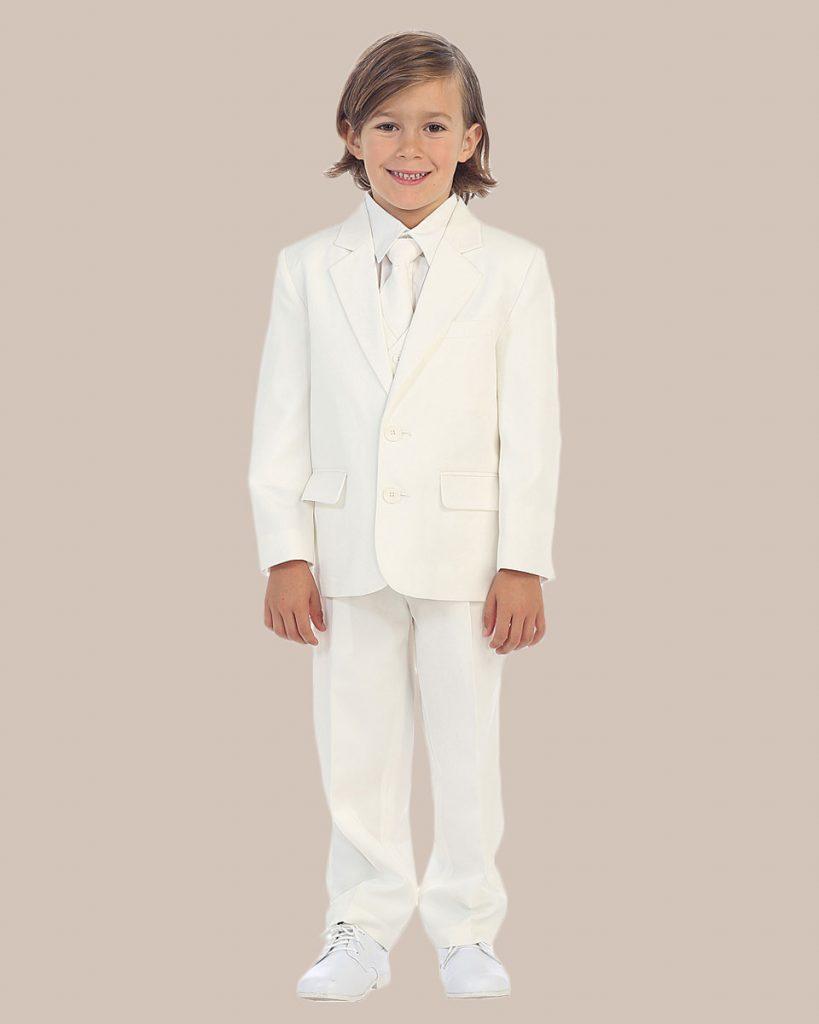 5 Piece Boy's 2 Button Dress Suit Tuxedo   Ivory - One Small Child