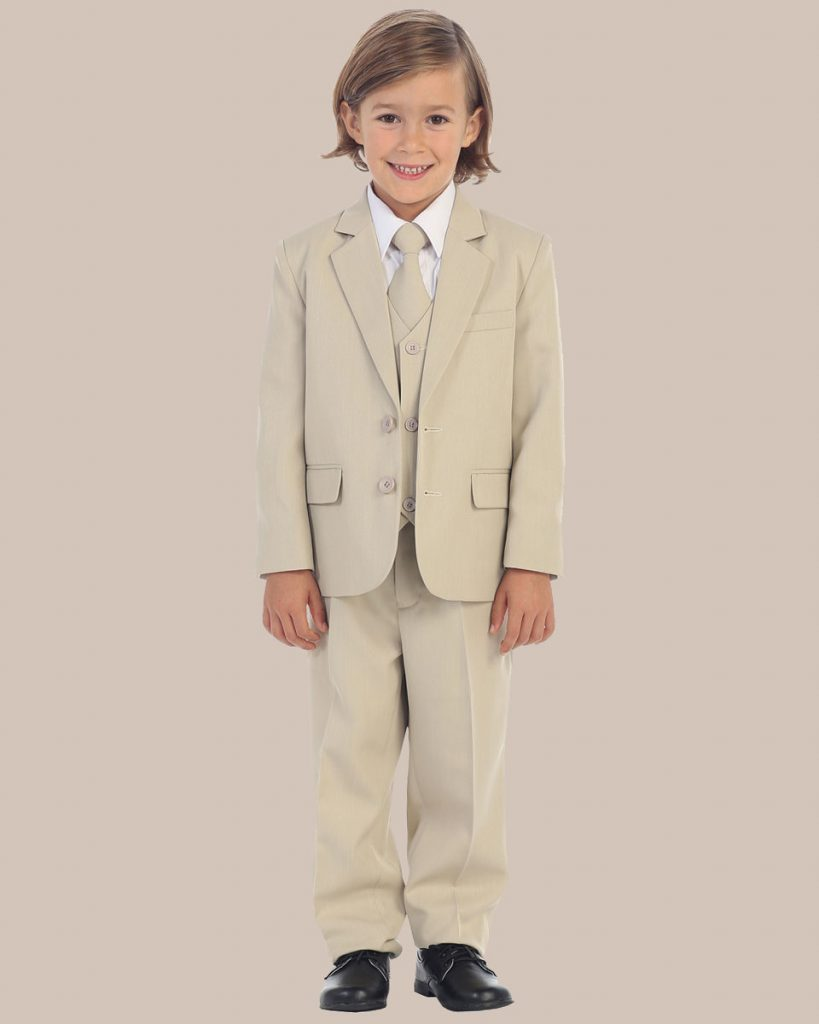 5-Piece Boy's 2-Button Dress Suit Tuxedo - Khaki