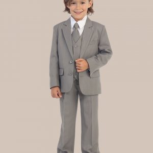 5-Piece Boy's 2-Button Dress Suit Tuxedo - Light Gray
