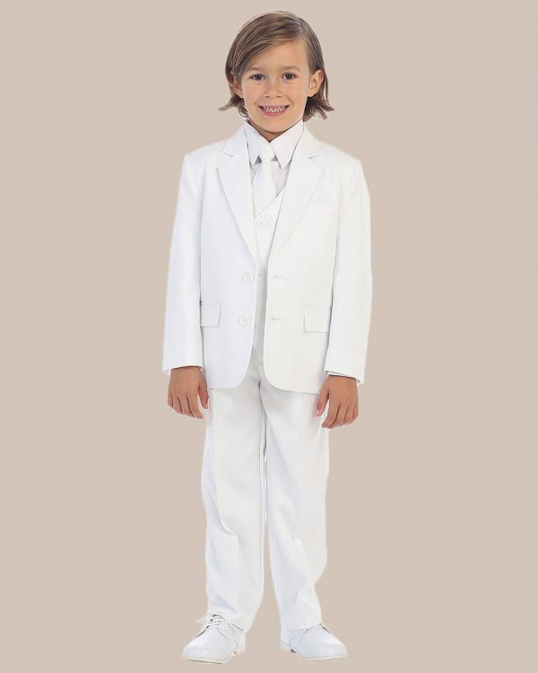 5-Piece Boy's 2-Button Dress Suit Tuxedo - White