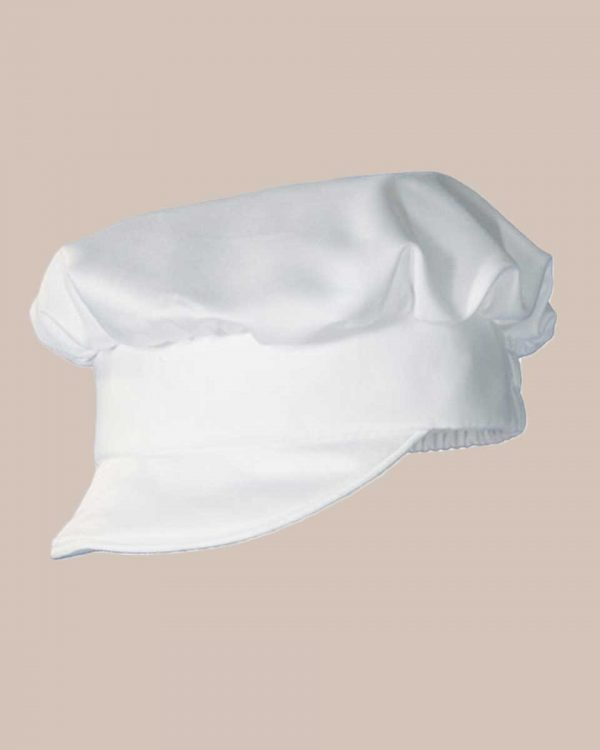 Boys Cotton Sateen Short Sleeve Christening Baptism Pleated Hat - One Small Child