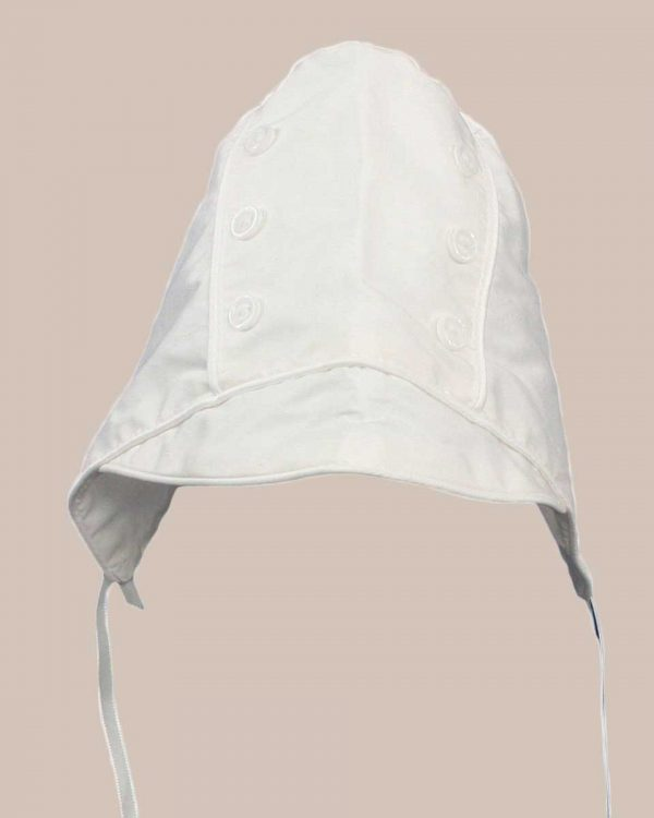 Boys Simple Silk Dupioni Christening Baptism Hat with Brim and Button Accents - One Small Child
