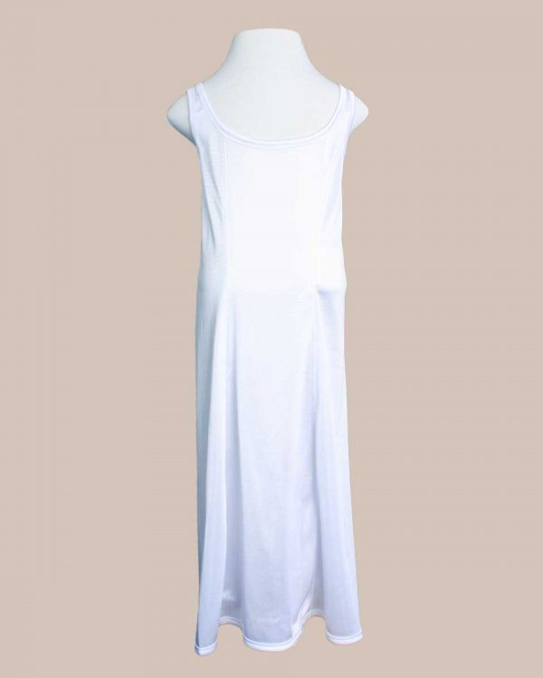Girls White Simple Princess Style Tea Length Nylon Slip with Adjustable Straps - One Small Child