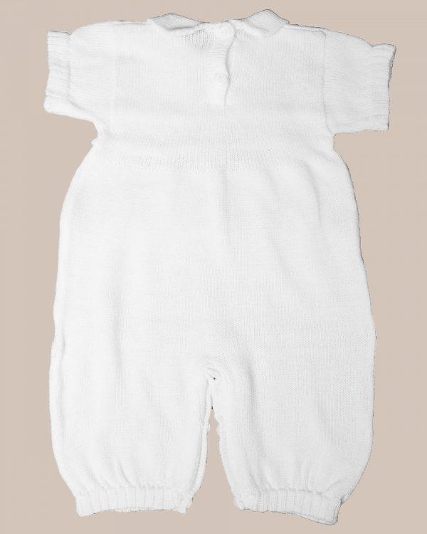 Boy's Short Sleeve Soft White Cotton Knit Christening Baptism Longall
