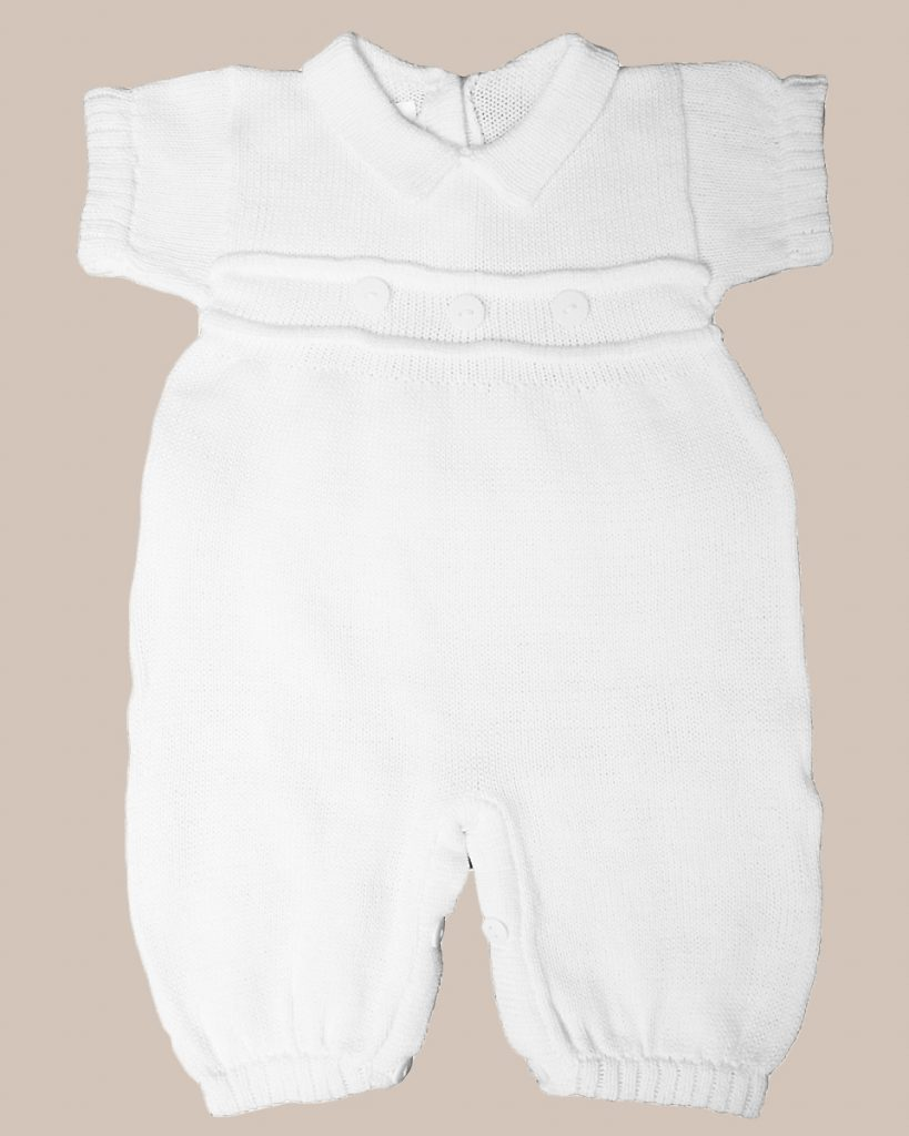 Cotton Embroidered Short Christening Baptism Romper Set