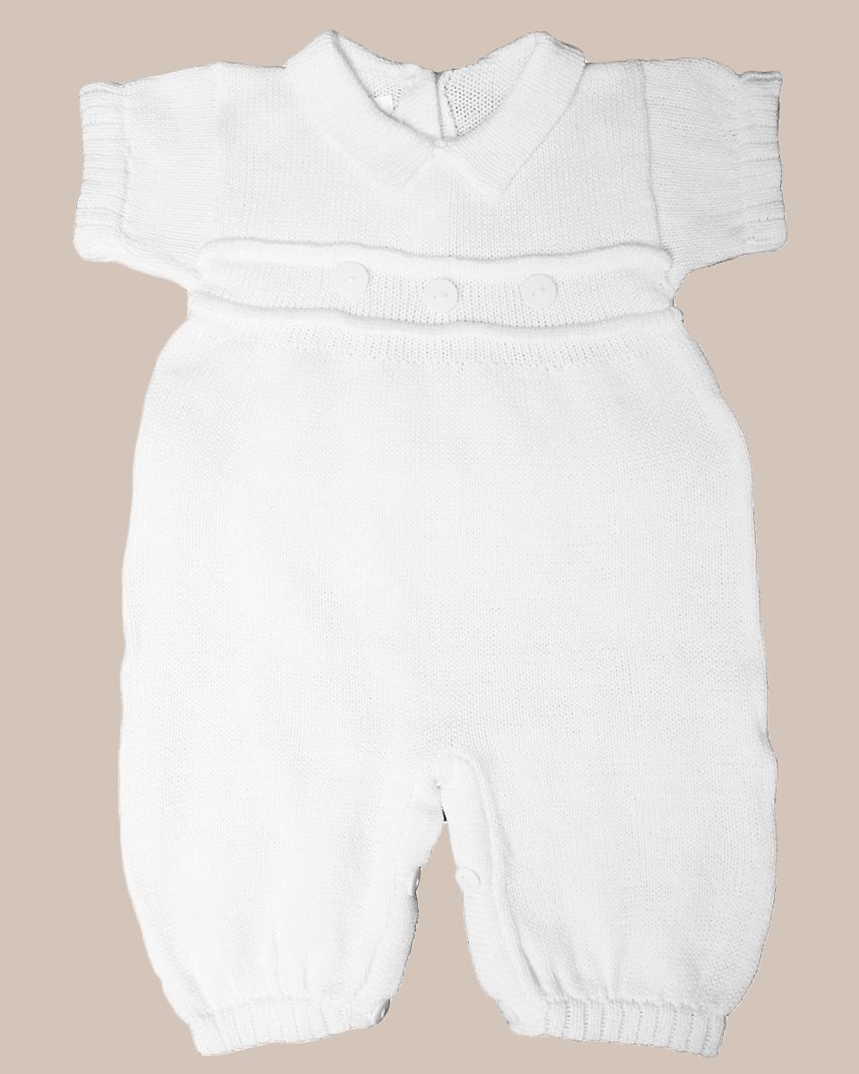 0da9e183b Boy's Short Sleeve Soft White Cotton Knit Christening Baptism Longall