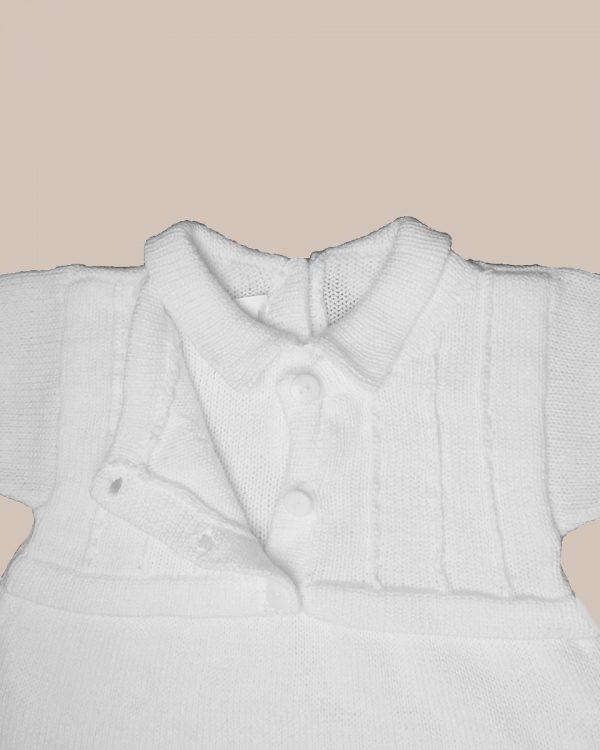 Boy's Short Sleeve Soft White Cotton Knit Romper with Vest