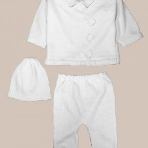 Boy's White 3 Piece Collared V-Neck Cotton Knit Sweater Outfit with Pants and Cap