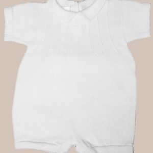 Boy's White Cotton Knit Short Sleeve Romper with Embroidered Subtle Cross