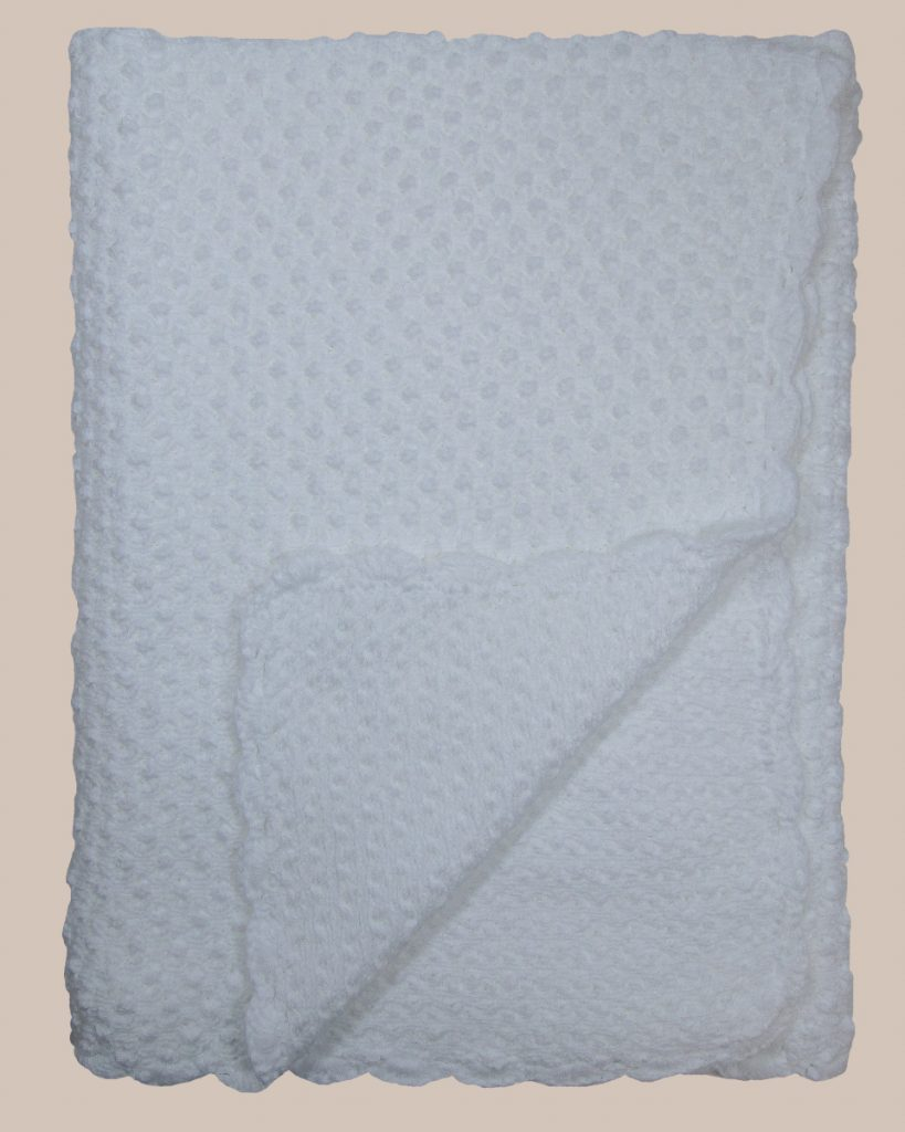 Hand Crochet White Cotton Shawl Blanket with Bubble Pattern - One Small Child