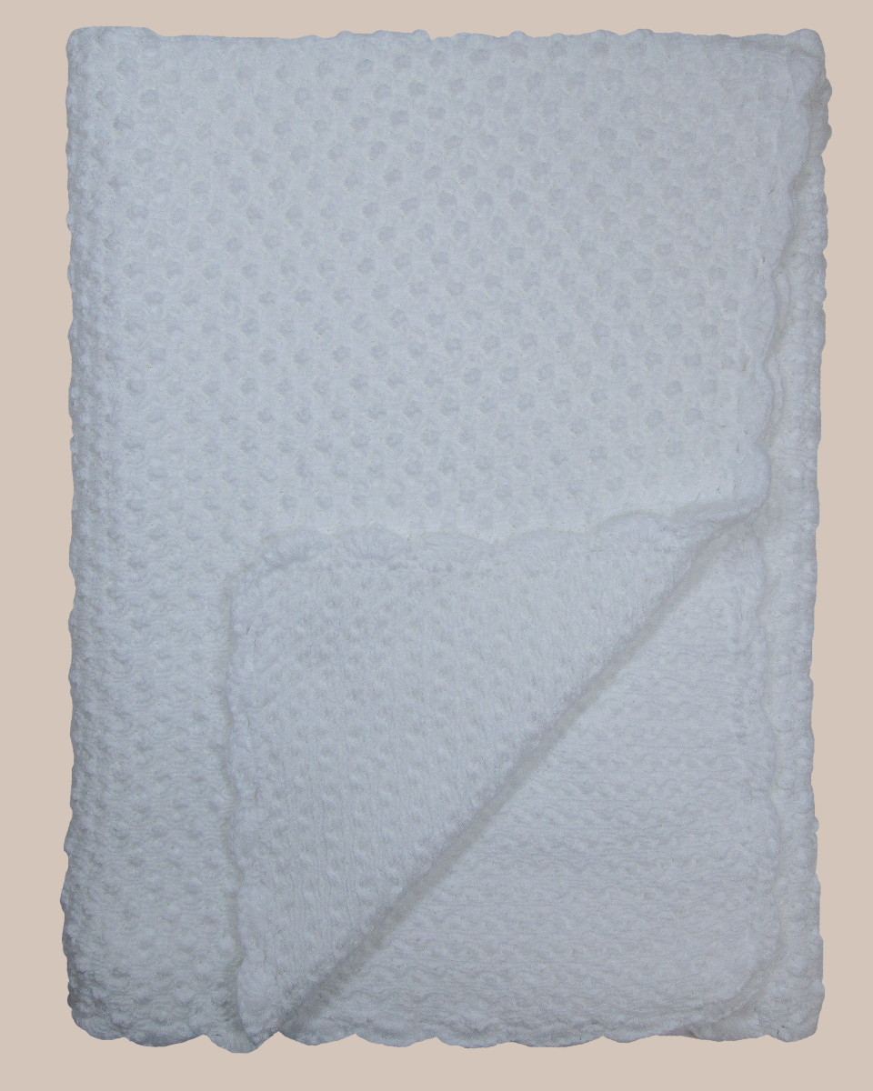 Hand Crochet White Cotton Shawl Blanket With Bubble Pattern One