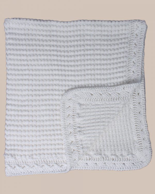 Hand Crochet White Cotton Shawl Blanket with Ripple Pattern - One Small Child