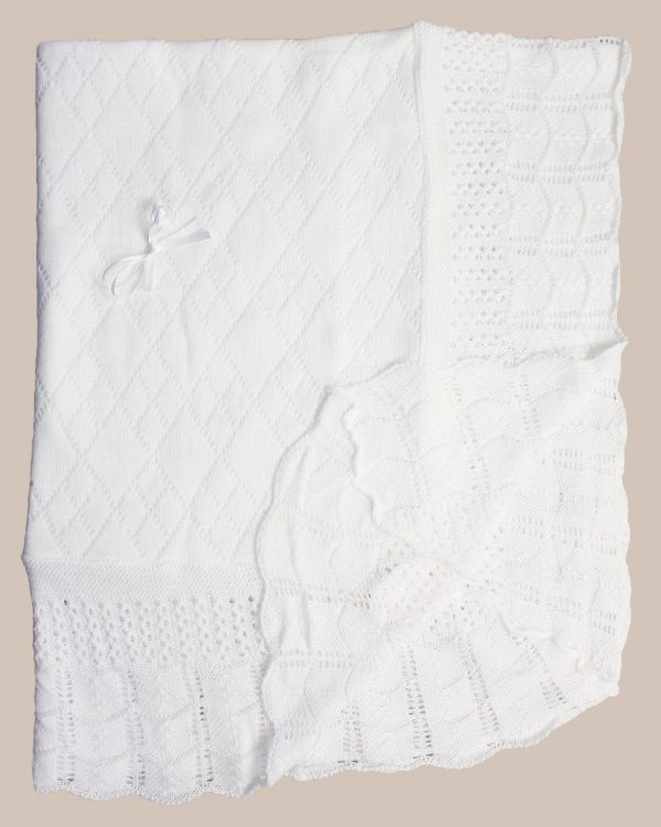 Hand Crochet White Cotton Shawl Blanket with Diamond Pattern and Ribbon Bow - One Small Child
