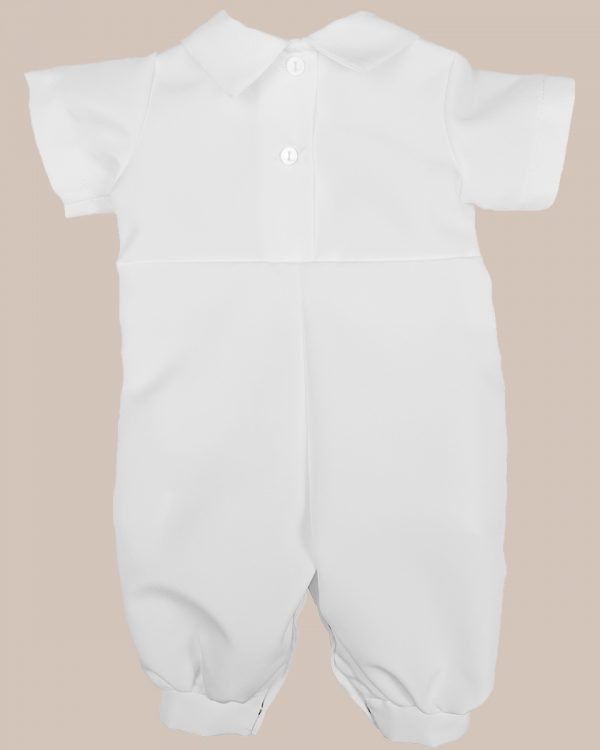 Boys White Short Sleeve Collared Romper Coverall with Pin-Tucking - One Small Child