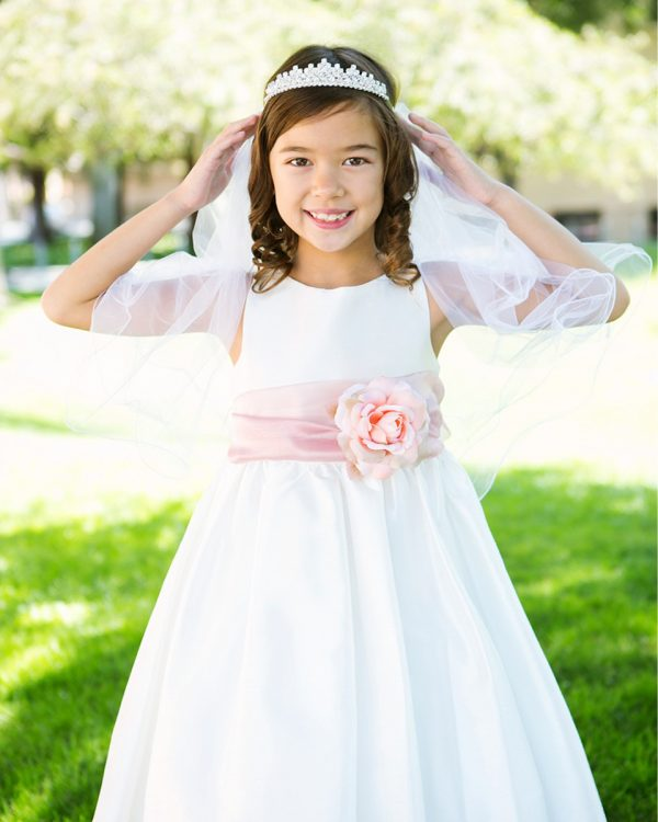 KD-204 Flower Girl Dress White Dusty Rose - One Small Child