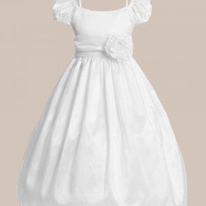 Classic White Taffeta Communion Dress with Flower - One Small Child
